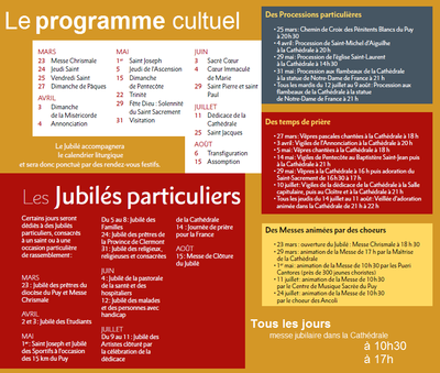 Le programme cultuel du Jubilé de Notre Dame du Puy 2016